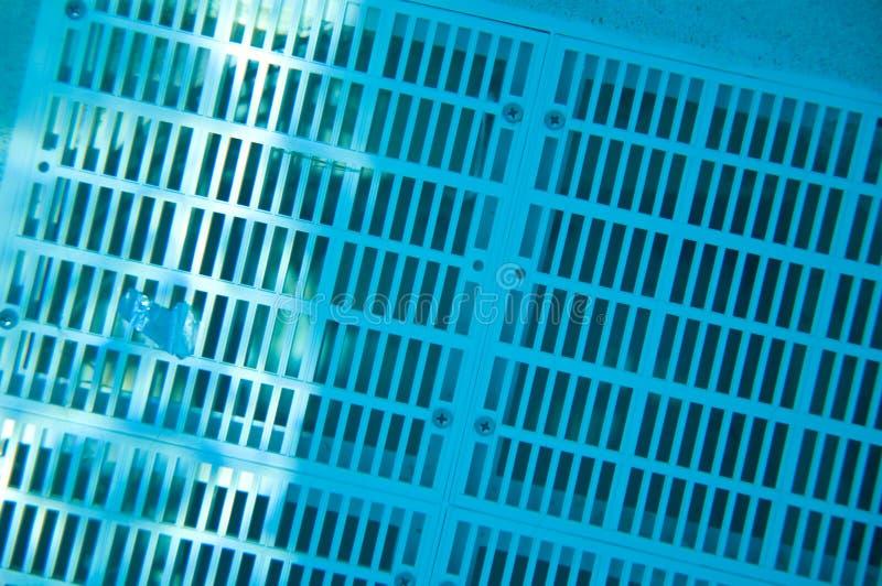 Rooster over onderwaterpoolafvoerkanaal stock afbeelding