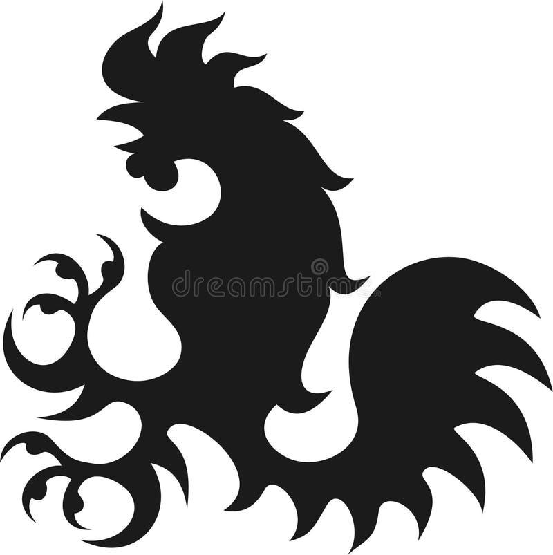 Rooster pictogram barok stock illustration