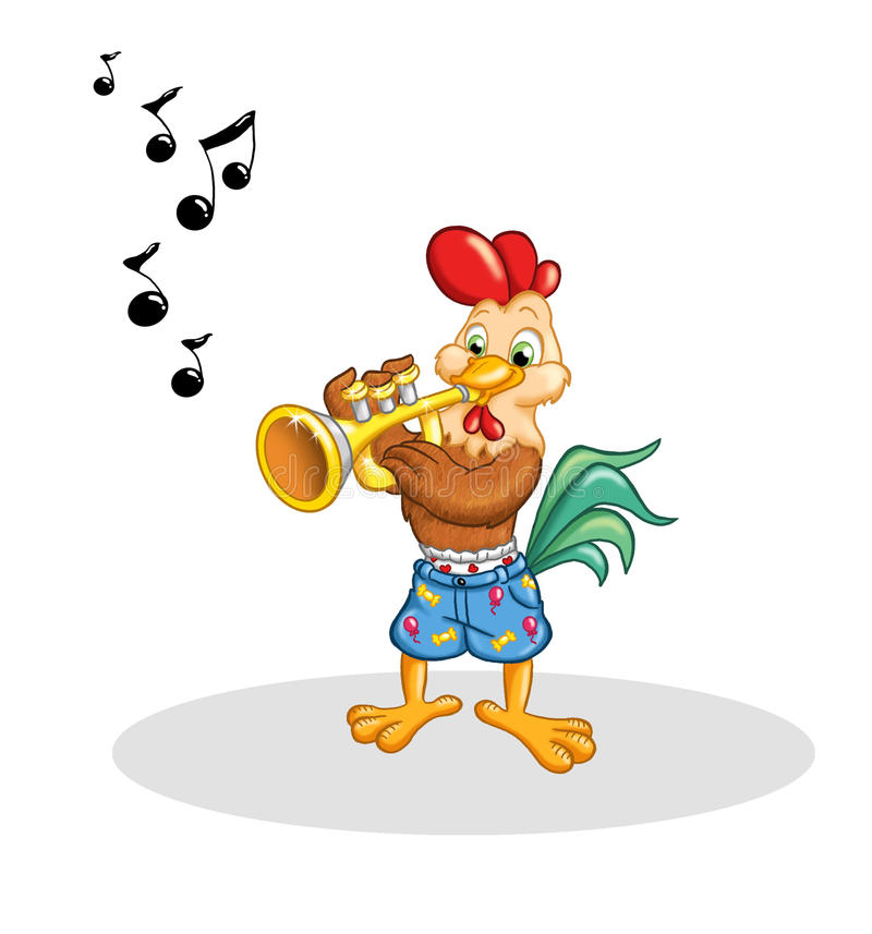 Rooster that plays the trumpet royalty free stock photography