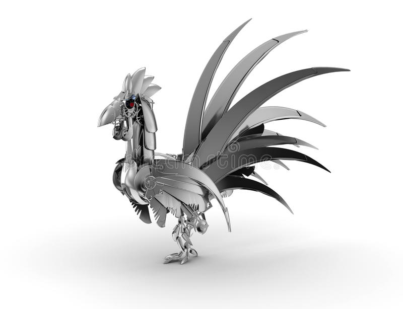 Rooster Robot On A White Background Stock Illustration