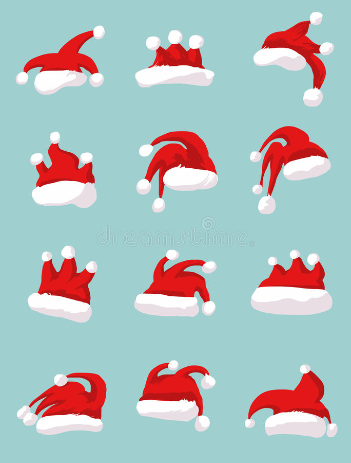 Rooster Santa hat concept stock illustration