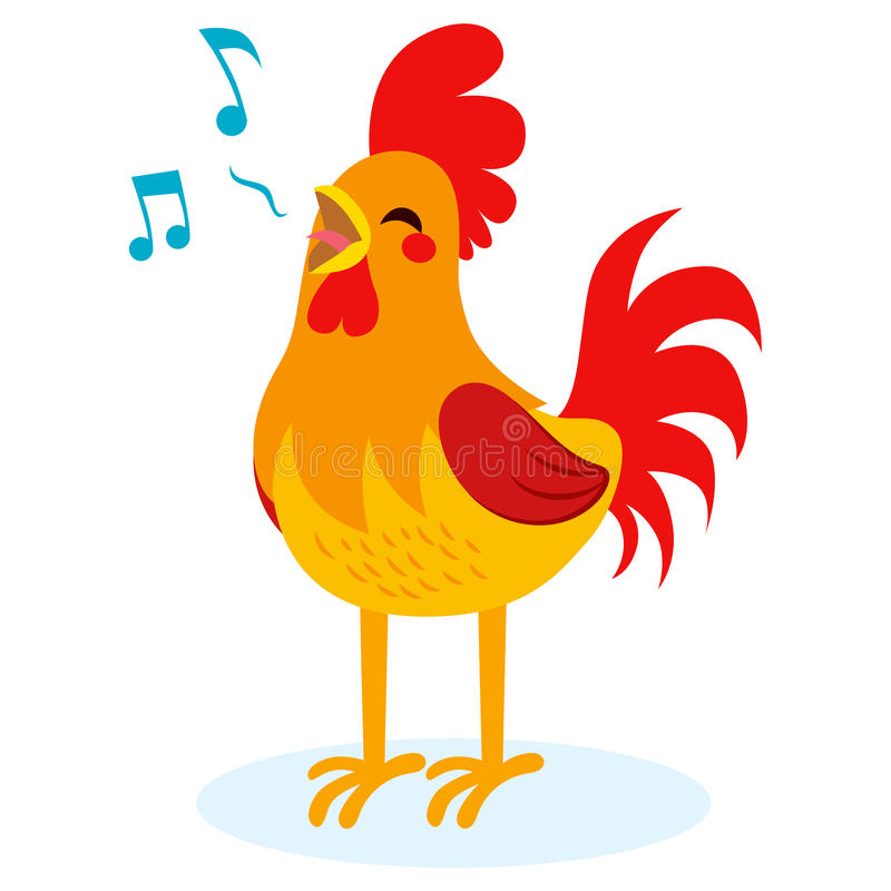 Rooster Singing stock illustration
