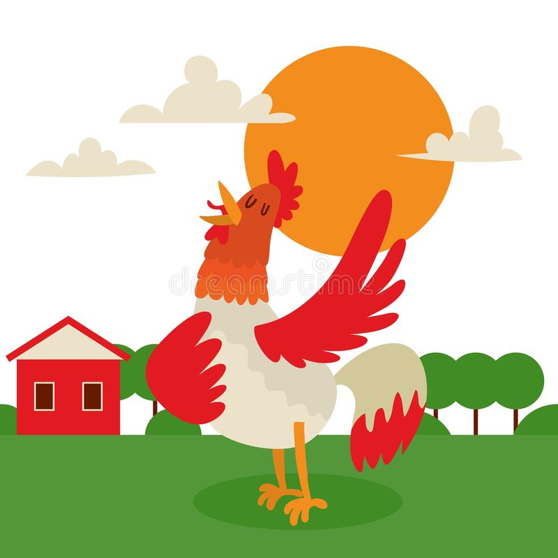 Rooster singing or performing song on country land background banner vector illustration. Farm cock with bright plumage vector illustration
