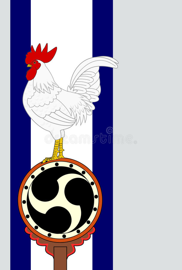 Rooster standing on Japanese old drum royalty free illustration