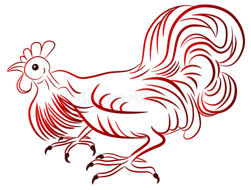 Rooster - symbol of Chinese New Year. Vector illustration of the rooster, symbol of Chinese New Year royalty free illustration