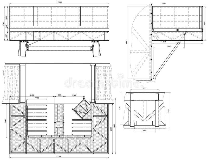 Rooster uitgebreide schets Toestel, schakelnet, potlood en ontwerp stock illustratie