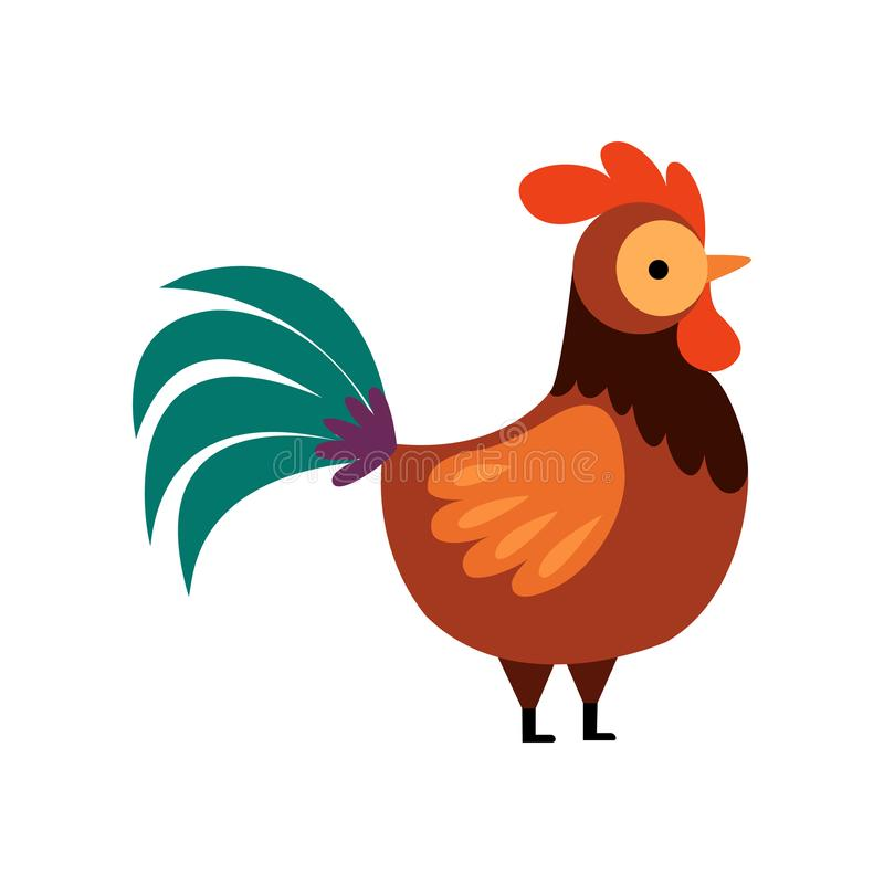 Free Rooster With Bright Plumage, Farm Cock, Side View, Poultry Farming Vector Illustration Royalty Free Stock Photography - 148217577