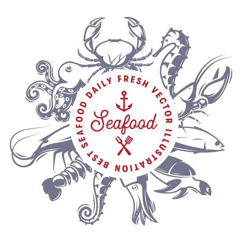 Roosterde zeevruchten dagelijkse verse vectorillusttation, het menuontwerpsjabloon van het zeevruchtenrestaurant, vissenembleem A royalty-vrije illustratie