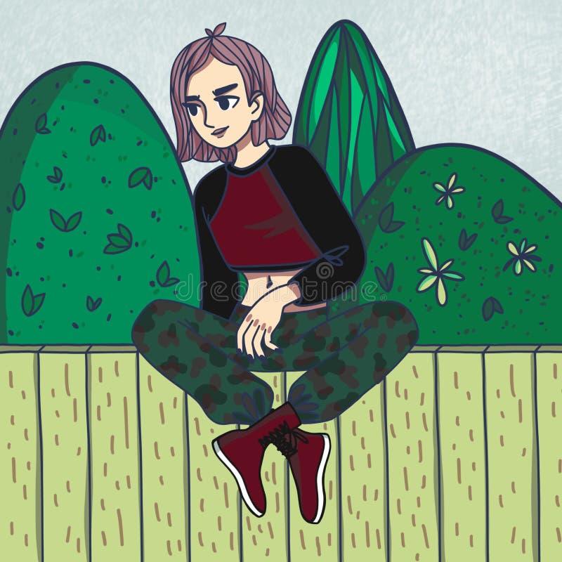 Roosterillustratie van een meisjeszitting op een omheining op een blauwe achtergrond royalty-vrije illustratie