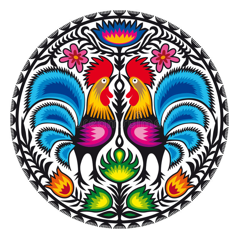 Roosters. Illustration of Polish traditional papercut from Lowicz region stock illustration