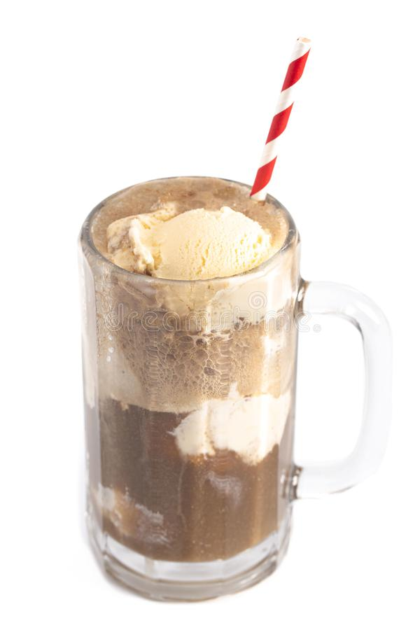A Root Beer Float Isolated on a White Background. Root Beer Float Isolated on a White Background royalty free stock photos