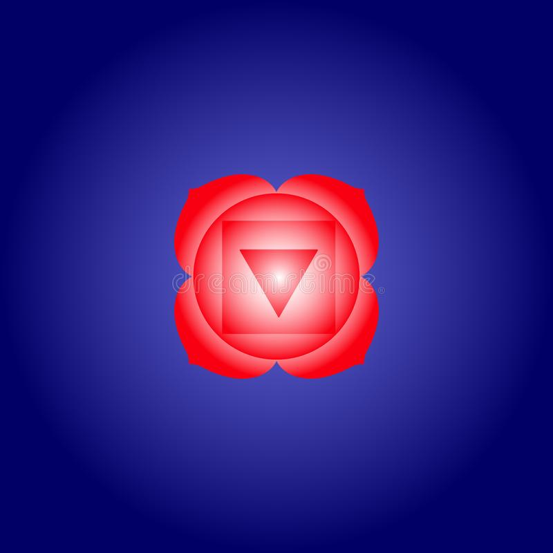 Root chakra Muladhara in red color on dark blue space background. Isoteric flat icon. Geometric pattern. Vector vector illustration