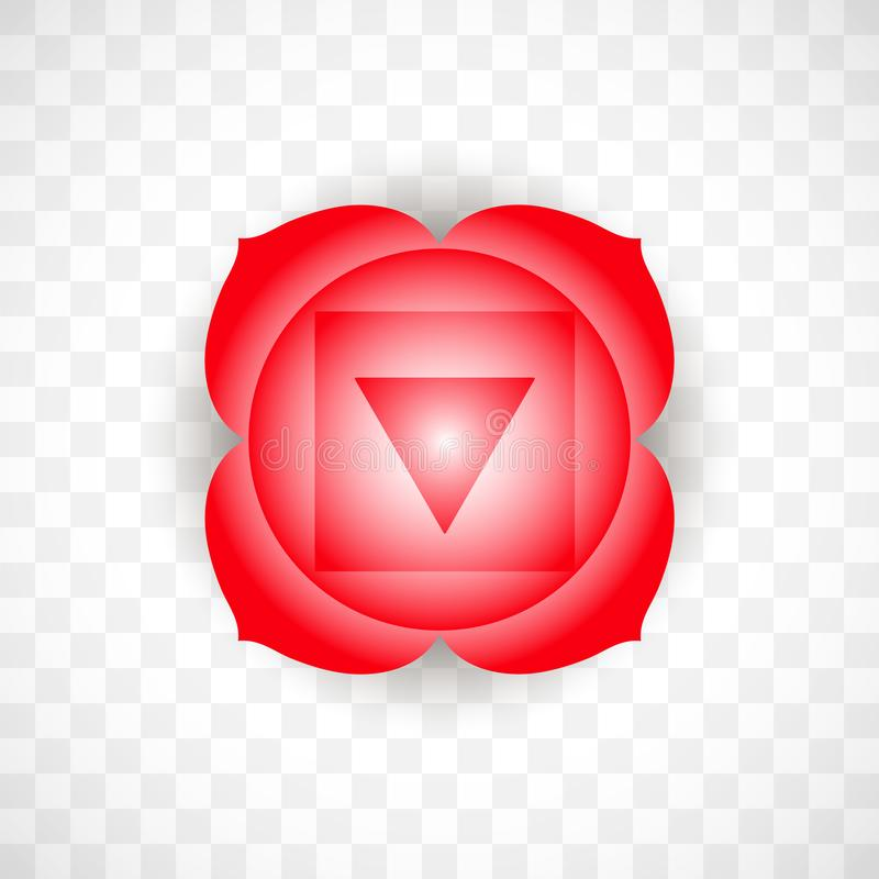 Root chakra Muladhara in red color isolated on transparent background. Isoteric flat icon. Geometric pattern. royalty free illustration