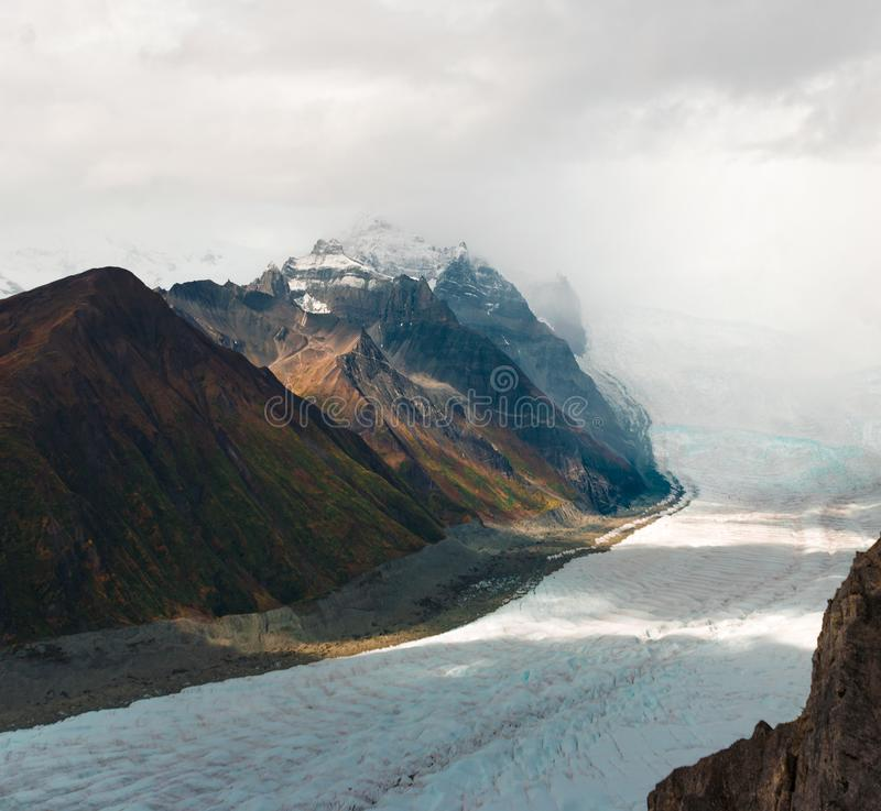 Root glacier coming down from Regal Mountain near Kennecott Mine stock photo
