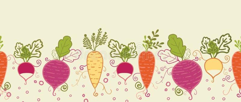 Root vegetables horizontal seamless pattern stock illustration