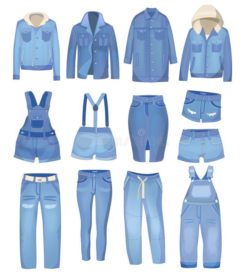 Ropa azul clara del dril de algodón Vaqueros, chaqueta, pantalones cortos, guardapolvos y falda Sistema rasgado de los vaqueros E stock de ilustración