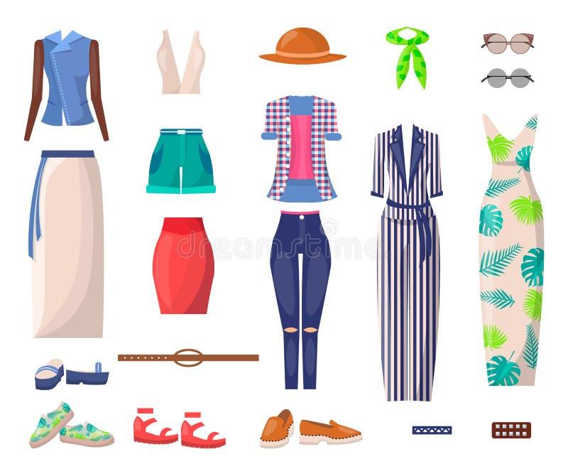 Ropa brillante femenina del verano y zapatos elegantes fijados ilustración del vector