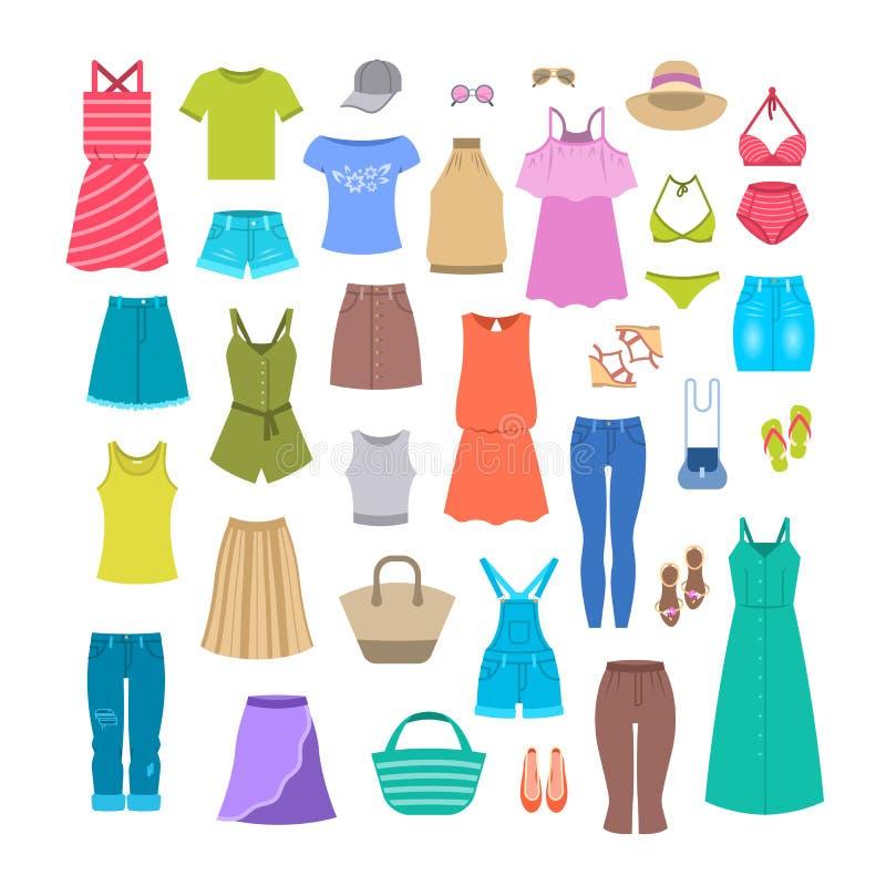 Ropa casual y accesorios de las mujeres del verano ilustración del vector