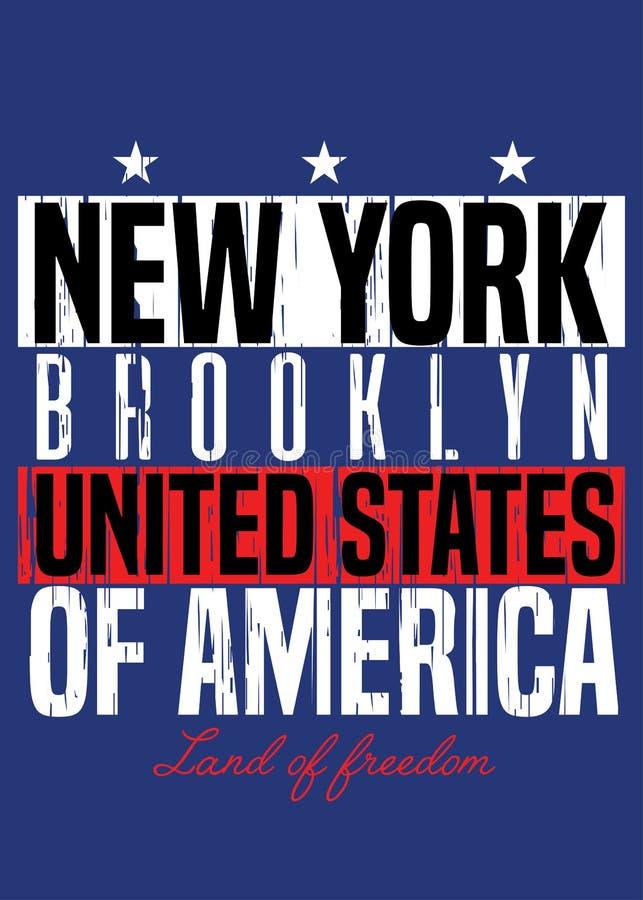 Ropa colorida del orgullo americano del cartel de Nueva York apenada libre illustration