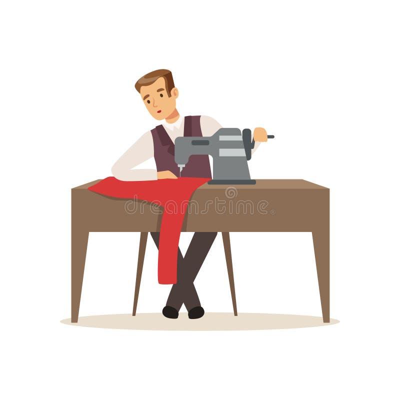 Ropa de costura de la modista de sexo masculino por la máquina de coser, el diseñador de la ropa o el sastre trabajando en el eje stock de ilustración