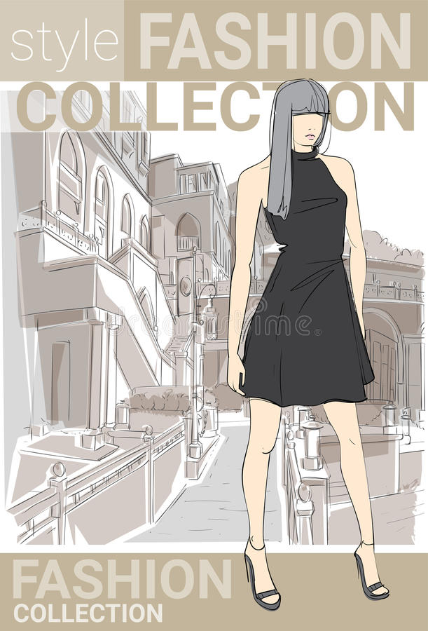 Ropa de Girl Wear Elegant del modelo del estilo de la colección de la moda en bosquejo de la calle libre illustration