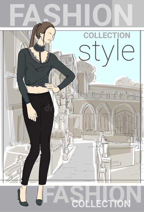 Ropa de Girl Wear Elegant del modelo del estilo de la colección de la moda en bosquejo de la calle ilustración del vector