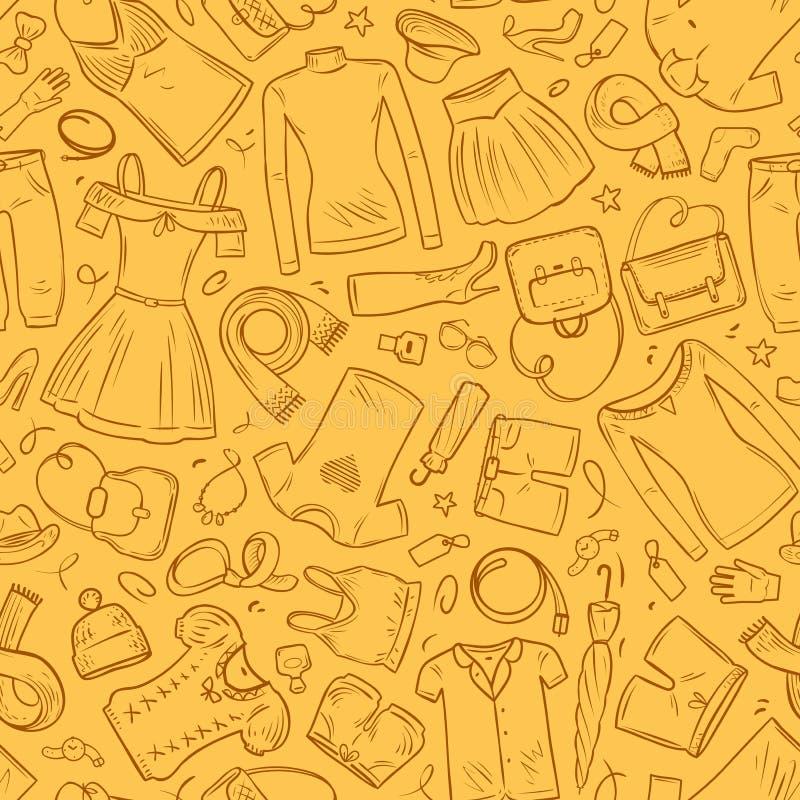 Ropa de la moda, bandera Fondo inconsútil Ilustración del vector ilustración del vector