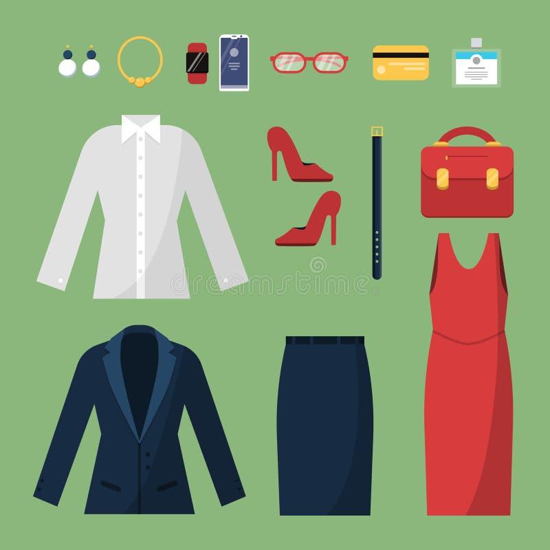 Ropa de la mujer Estilo del negocio de moda para el top femenino del vector del bolso del sombrero de la chaqueta del traje chaqu ilustración del vector