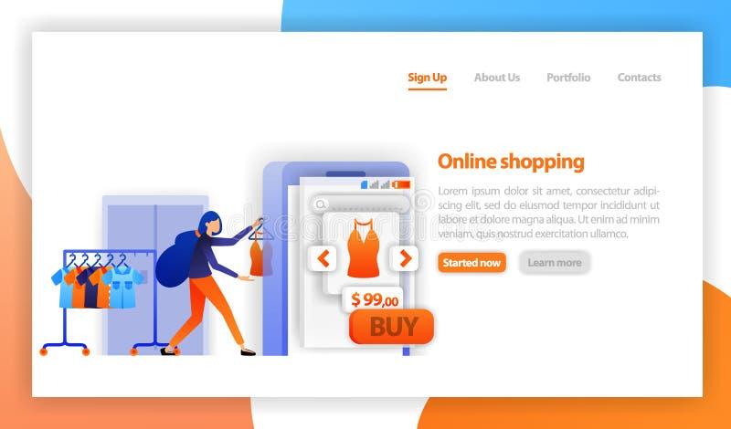 Ropa de la venta del vendedor a la tienda en línea comercio en línea, comprando y vendiendo concepto en línea del márketing de la stock de ilustración