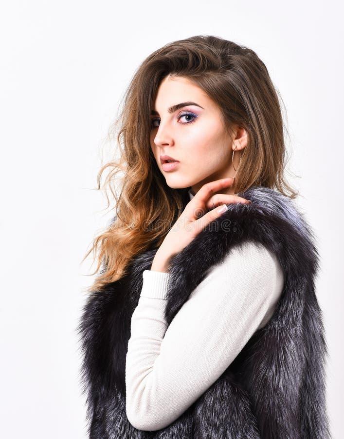 Ropa de moda del chaleco de plata de la piel Accesorio peludo de lujo Chaleco largo de la piel del desgaste del peinado de la car imagen de archivo libre de regalías