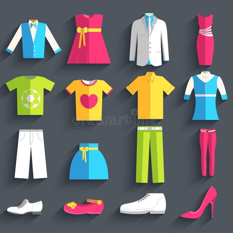 Ropa de moda del estilo de la colección para el concepto determinado del fondo del icono de la gente Plantilla del vector para la stock de ilustración