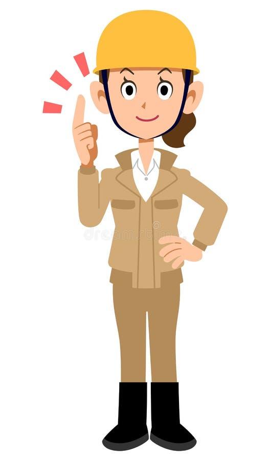 Ropa de trabajo beige del dedo índice de la mujer del trabajador del emplazamiento de la obra que lleva stock de ilustración
