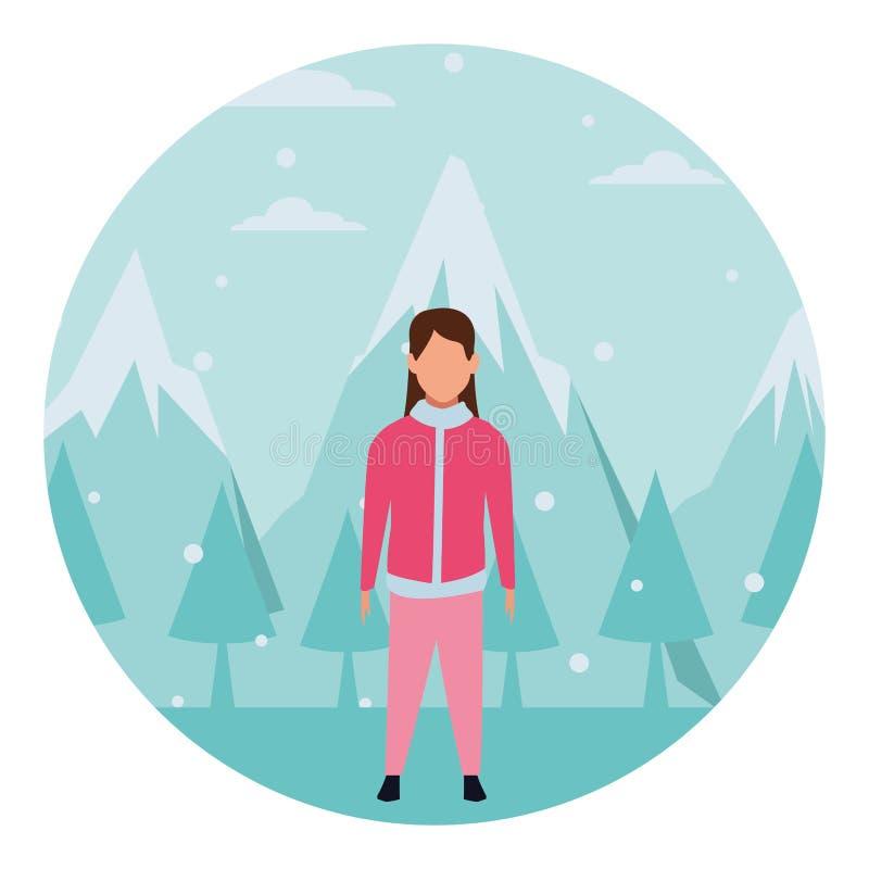 Ropa del invierno de la muchacha que desgasta stock de ilustración