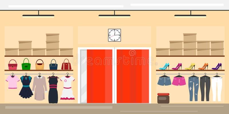 Ropa del ` s de las mujeres de la tienda El interior de una tienda de ropa del ` s de las mujeres r libre illustration