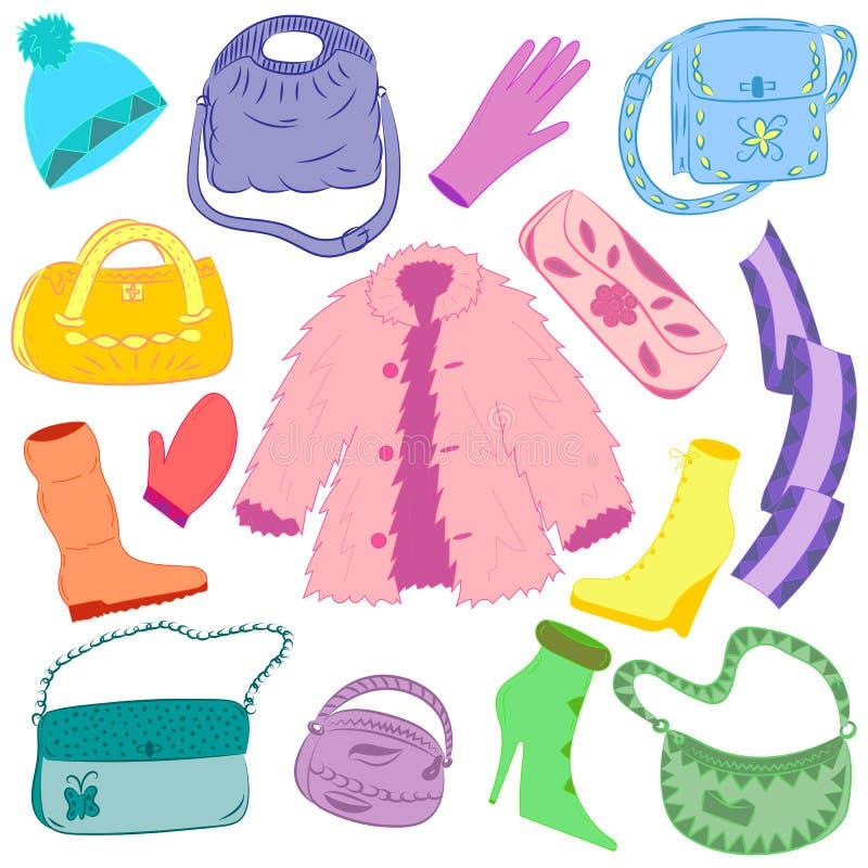 Ropa dibujada mano y bolsos coloridos del invierno aislados en blanco Zapatos lindos en el tacón alto, la bufanda, la manopla, el stock de ilustración