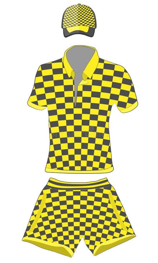 Ropa fijada: polo, gorra de béisbol y pantalones cortos negros y colores amarillos Ejemplo del dibujo del vector libre illustration