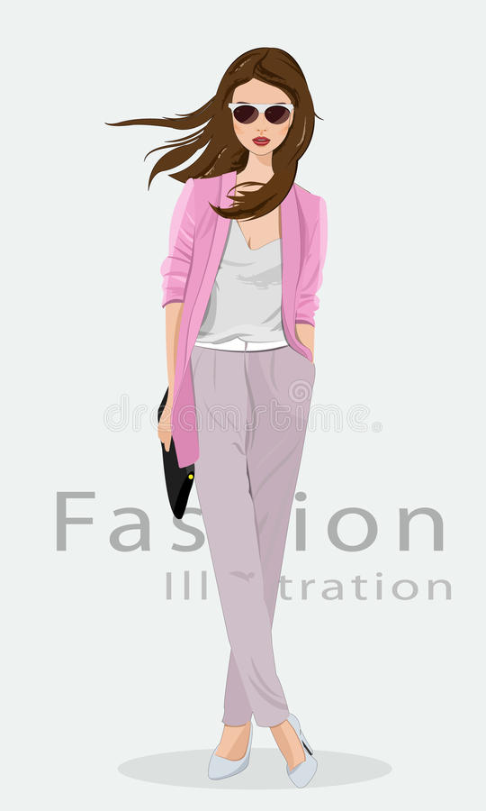 Ropa hermosa de la moda de la mujer que lleva joven, vidrios y con el bolso Modelo de manera en alineada de oro Ilustración del v ilustración del vector