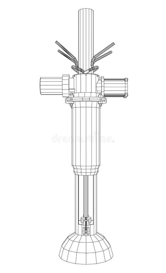 Ropa i gaz automatyczni rurociąg z klapą odizolowywającą na bielu Kalkowanie ilustracja 3d ilustracji