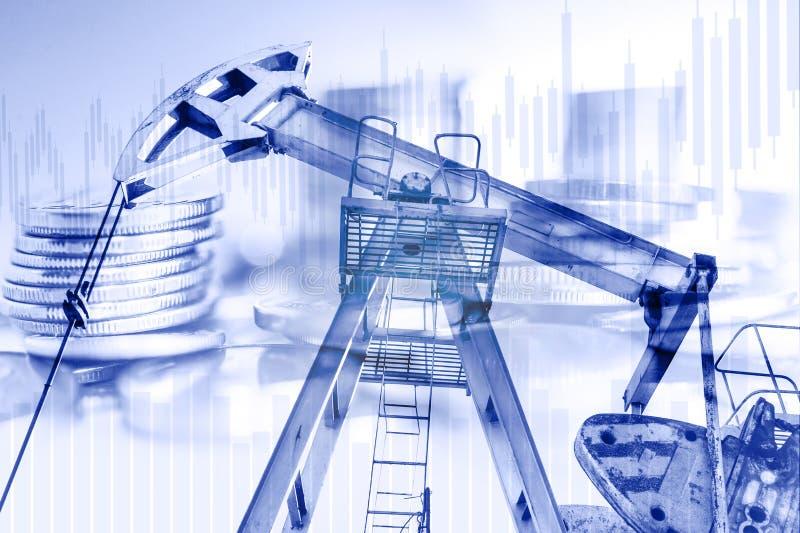 Ropa i gaz przemysłu, biznesowego i pieniężnego tło, Minować, rafineria ropy naftowej przemysł i rynek papierów wartościowych poj zdjęcie stock