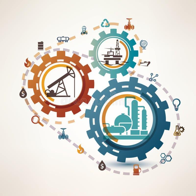 Ropa i gaz przemysłu infographics ilustracja wektor