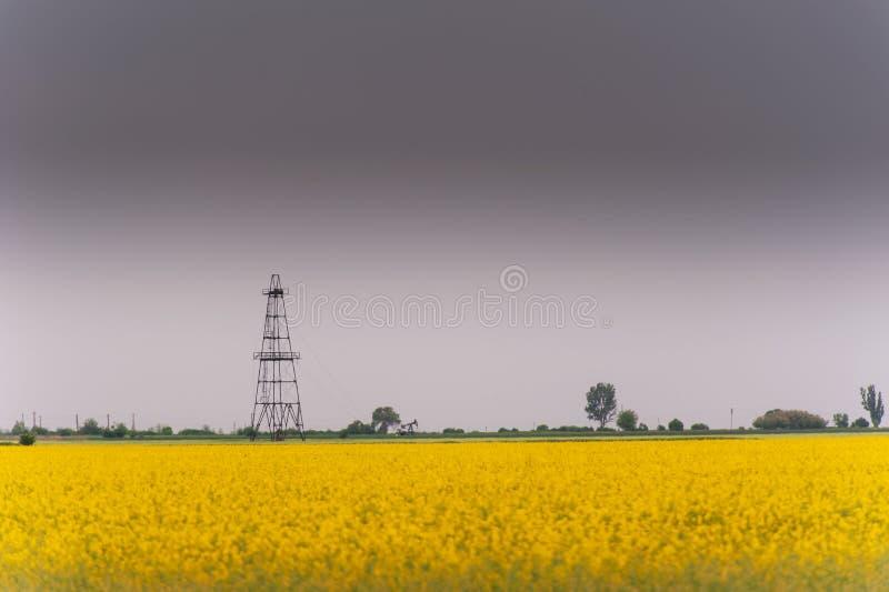 Ropa i gaz well takielunek, zarysowany wiejski canola pole fotografia stock