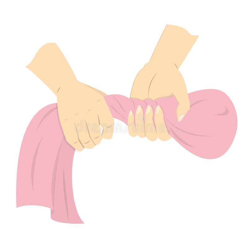 Ropa mojada del apretón y de la torsión de la mano después de lavarse libre illustration