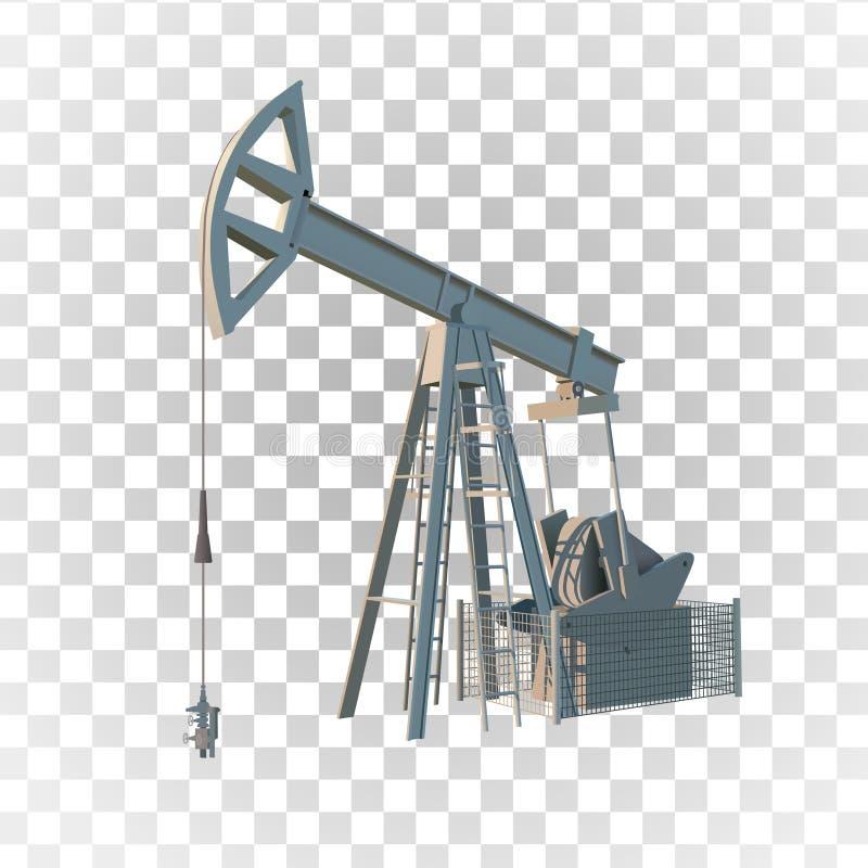 Ropa naftowa takielunek Nafciany świder odizolowywający niebieski obraz nieba tęczową chmura wektora ilustracji