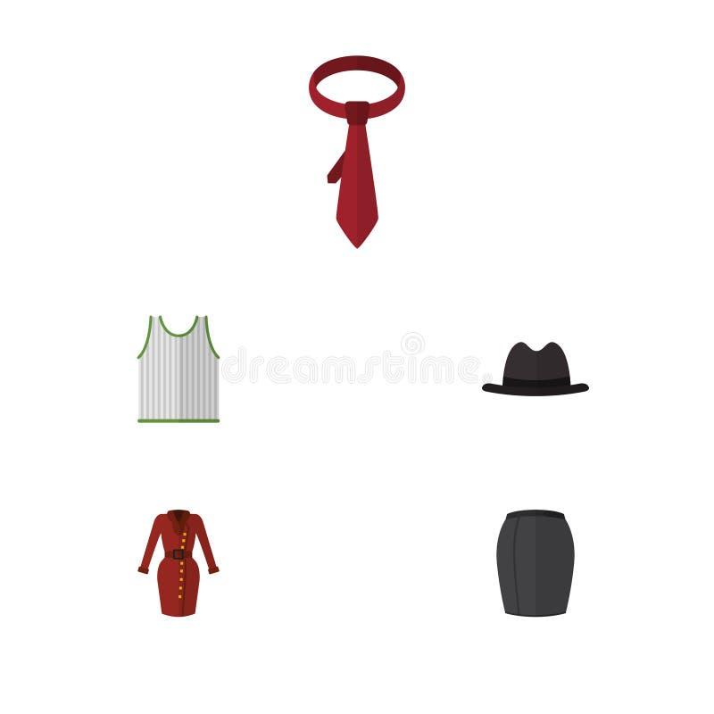 Ropa plana del icono fijada de la ropa elegante, de Panamá, del pañuelo y de otros objetos del vector También incluye el pañuelo, stock de ilustración