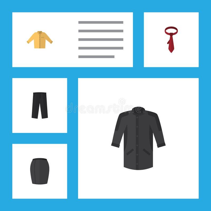Ropa plana del icono fijada de la ropa elegante, del Banyan, de pantalones y de otros objetos del vector También incluye los pant ilustración del vector