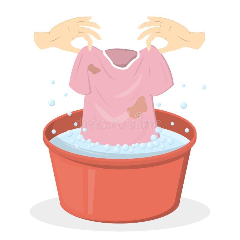 Ropa que se lava de la mano en un lavabo rojo libre illustration