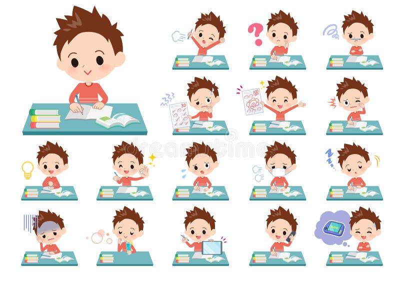 Ropa roja boy_study stock de ilustración