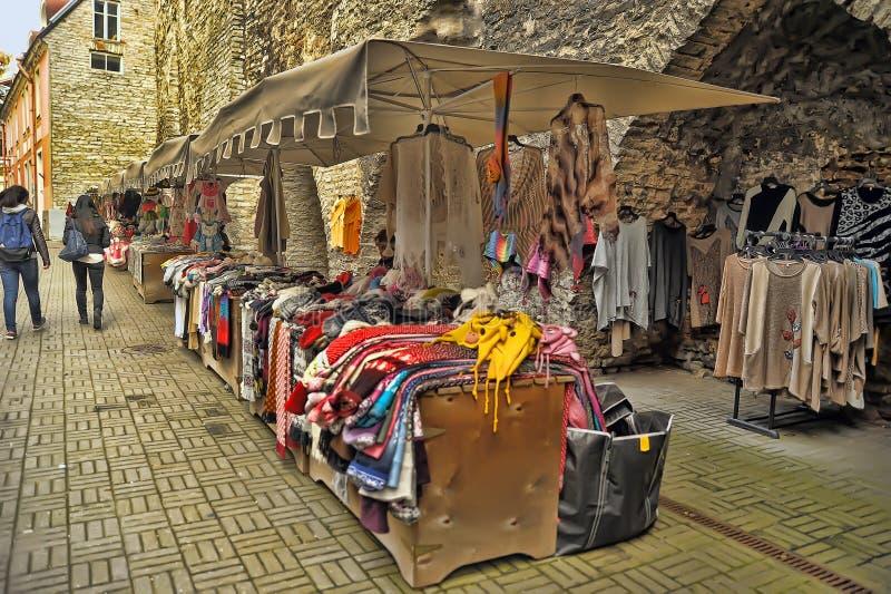 Ropa tejida a mano de lana en Tallinn fotografía de archivo