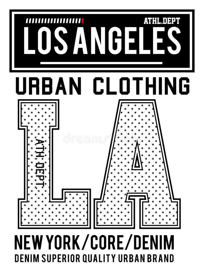 Ropa urbana de Los Ángeles de la tipografía del vector ilustración del vector