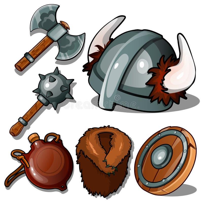 Ropa y armas antiguas de Vikingos Macis, hacha, casco con los cuernos, frasco, abrigo de pieles y pandereta Seis iconos aislados ilustración del vector